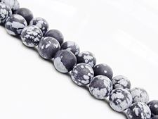 Picture of 8x8 mm, round, gemstone beads, obsidian, snowflake, natural, frosted