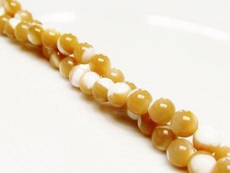 Image de 6x6 mm, perles rondes, pierres gemmes organiques, nacre, beige, naturelle