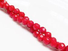 Image de 6x6 mm, perles rondes, pierres gemmes organiques, corail, rouge, à facettes