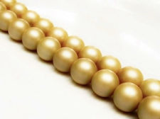Picture of 10x10 mm, round, gemstone beads,  South Sea shell pearls, golden beige, frosted