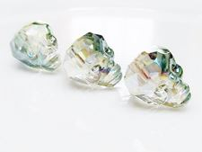 Picture of 10x14 mm, glass bead, faceted skull, crystal, transparent, green iris
