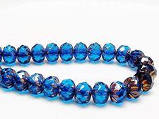 Image de 7x10 mm, perles rondelles sculptées, tchèques, bleu ciel profond, transparent, bronze rouille