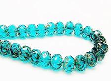 Image de 7x10 mm, perles rondelles sculptées, tchèques, bleu zircon, transparent, picasso