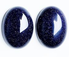 Afbeelding van 10x14 mm, ovaal, edelsteen cabochons, goudsteen, nachtblauw