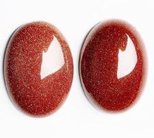 Image de 10x14 mm, ovale, cabochons de pierres gemmes, rivière d'or, rouge