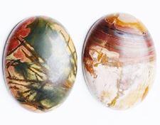 Image de 13x18 mm, ovale, cabochons de pierres gemmes, jaspe ruisseau rouge, naturel
