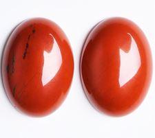 Image de 13x18 mm, ovale, cabochons de pierres gemmes, jaspe rouge, naturel