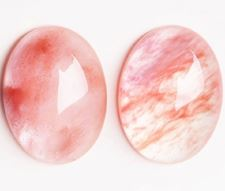 Picture of 13x18 mm, oval, gemstone cabochons, strawberry quartz