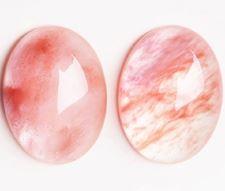 Image de 13x18 mm, ovale, cabochons de pierres gemmes, quartz fraise