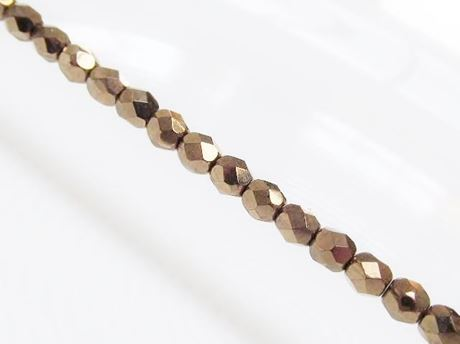 Picture of 4x4 mm, Czech faceted round beads, black, opaque, golden luster