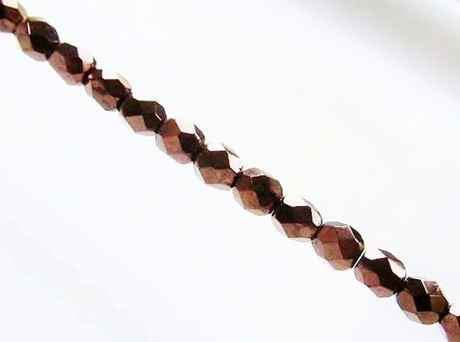 Image de 4x4 mm, perles à facettes tchèques rondes, noires, opaques, lustrées bronze rouille