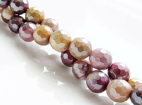 Picture of 6x6 mm, round, gemstone beads, Mookaite Windalia Radiolarite, natural, faceted, metallic sheen