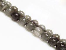 Image de 8x8 mm, perles rondes, pierres gemmes, pierre de lune, gris foncé, naturelle, qualité AA