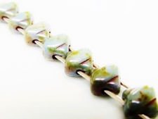 Picture of 5x5 mm, diagonal, mini Silky beads, Czech glass, 2 holes, alabaster white, translucent, fusion of grey blue and green