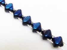 Picture of 5x5 mm, diagonal, mini Silky beads, Czech glass, 2 holes, black, opaque, half tone Azuro