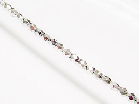 Image de 4x4 mm, perles à facettes tchèques rondes, cristal, transparent, miroir complet d'argent