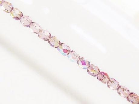 Image de 4x4 mm, perles à facettes tchèques rondes, violet améthyste pâle, transparent, AB