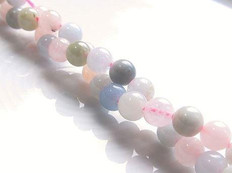 Image de 6x6 mm, perles rondes, pierres gemmes, morganite ou béryl rose, naturelle