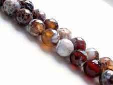 Picture of 8x8 mm, round, gemstone beads, crackle agate, brown, faceted
