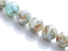 Picture of 14x14 mm, round, gemstone beads, natural river shell in resin, aqua green turquoise