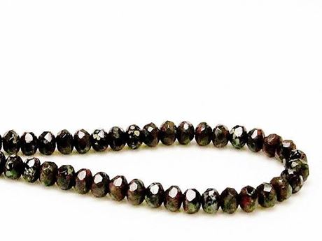 Picture of 3x5 mm, Czech faceted rondelle beads, black, opaque, green-grey ghost