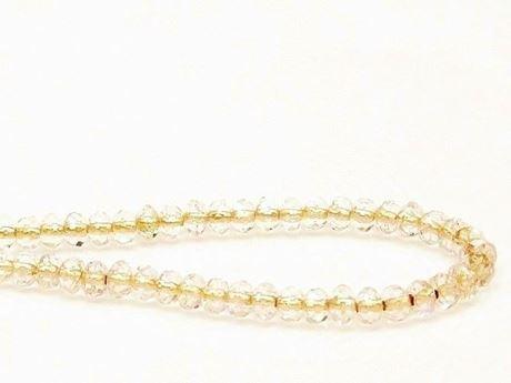 Image de 3x5 mm, perles à facettes tchèques rondelles, cristal, transparent, doublé cuivre jaune