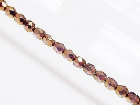 Picture of 4x4 mm, Czech faceted round beads, transparent, golden luster