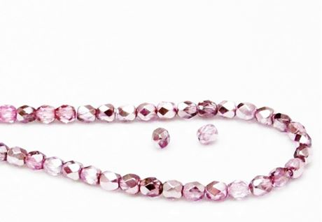 Picture of 4x4 mm, Czech faceted round beads, transparent, lavender pink luster, half tone mirror