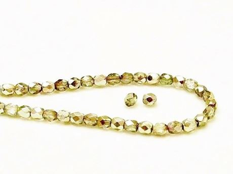 Picture of 4x4 mm, Czech faceted round beads, transparent, olive green luster, half tone mirror