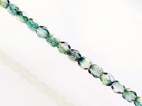 Picture of 4x4 mm, Czech faceted round beads, transparent, variegated muted green and blue luster