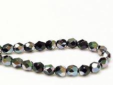 Afbeelding van 6x6 mm, Tsjechische ronde facetkralen, zwart, ondoorzichtig, groen-blauwe glans