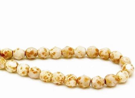 Image de 6x6 mm, perles à facettes tchèques rondes, blanc craie, opaque, picasso