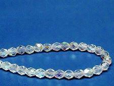 Image de 6x6 mm, perles à facettes tchèques rondes, cristal, transparent, AB