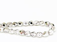 Picture of 6x6 mm, Czech faceted round beads, crystal, transparent, half tone silver mirror