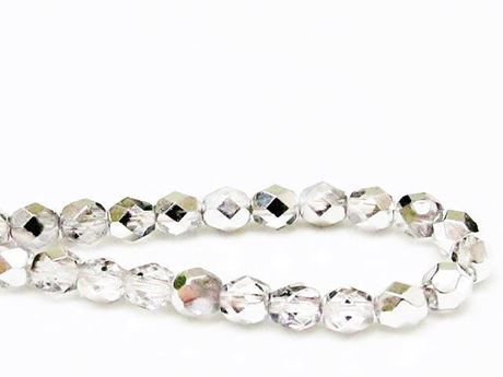 Image de 6x6 mm, Czech faceted round beads, crystal, transparent, half tone silver mirror