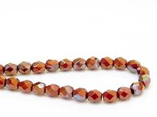 Picture of 6x6 mm, Czech faceted round beads, deep red, opaque, copper iris luster