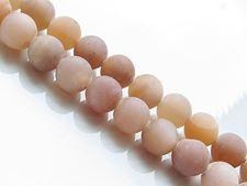 Afbeelding van 8x8 mm, rond, edelsteen kralen, zonnesteen, natuurlijk, gedempt perzik-roze, mat