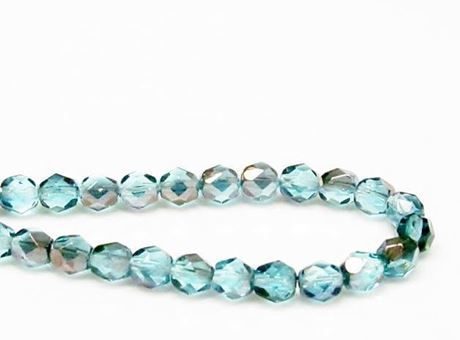 Picture of 6x6 mm, Czech faceted round beads, turquoise blue, transparent, garnet red luster
