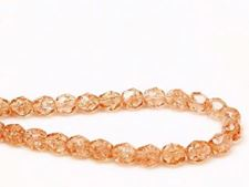 Picture of 6x6 mm, Czech faceted round beads, peachy pink, transparent, crackled