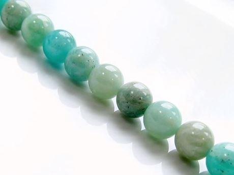 Picture of 8x8 mm, round, gemstone beads, amazonite, green blue, natural