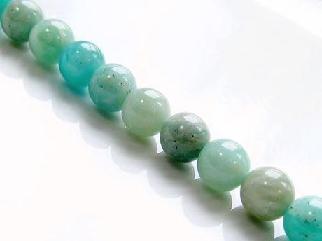 Afbeelding van 8x8 mm, rond, edelsteen kralen, amazoniet, groenblauw, natuurlijk