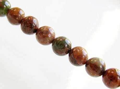 Picture of 6x6 mm, round, gemstone beads, chalcedony, green-brown, natural