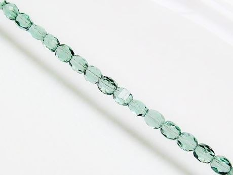 Picture of 6x6 mm, Czech two-way cut beads, blue celadon green, transparent
