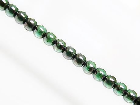 Picture of 4x4 mm, round, Czech druk beads, light emerald green, transparent, silvery violet luster