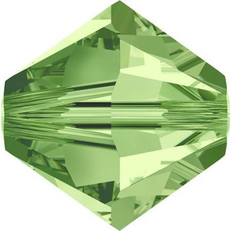 Picture of 4 mm, Xilion bicone Swarovski® Crystal beads, peridot green