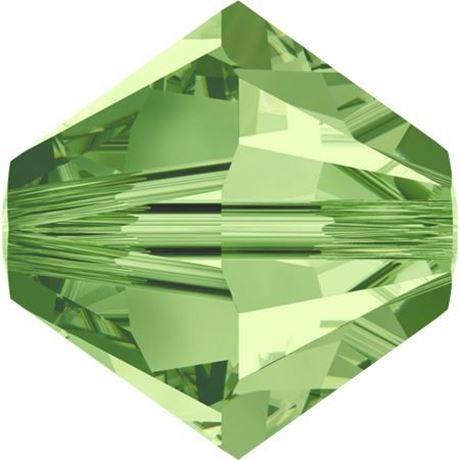 Image de 4 mm, perles rondes de cristal Swarovski®, vert péridot