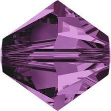 Afbeelding van 4 mm, Xilion bicone Swarovski® kristal kralen, amethist paars