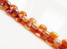 Image de 6x8 mm, CoCo,  perles de verre pressé tchèque, cristal, transparent, lustré orange crème abricot