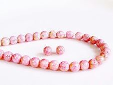 Picture of 6x6 mm, round, Czech druk beads, chalk white, opaque, light topaz pink luster