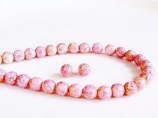 Image de 6x6 mm, rondes, perles de verre pressé tchèque, blanc craie, opaque, lustré rose topaze pâle